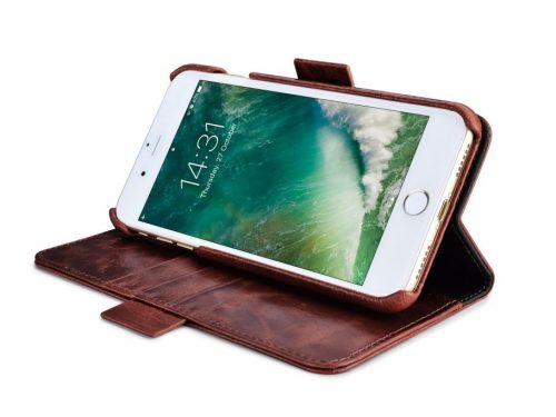 iPhone 7 / 8 / SE Leather Wallet Case – Coffee Oil Wax